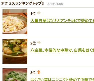 Cookpadの私のレシピ。アクセスランキング。本日は白菜系が上位!