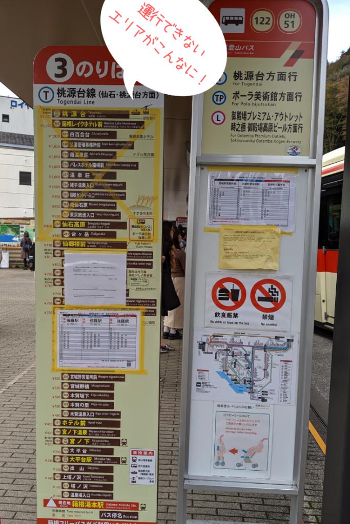 箱根のバス路線。台風19号で運行できないエリアがこんなに