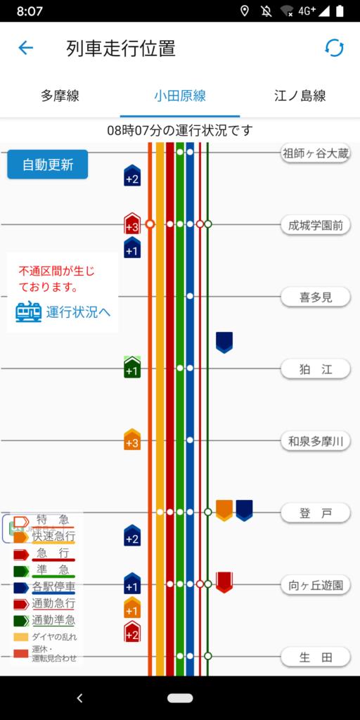 小田急線の電車の位置が手に取るようにわかる!