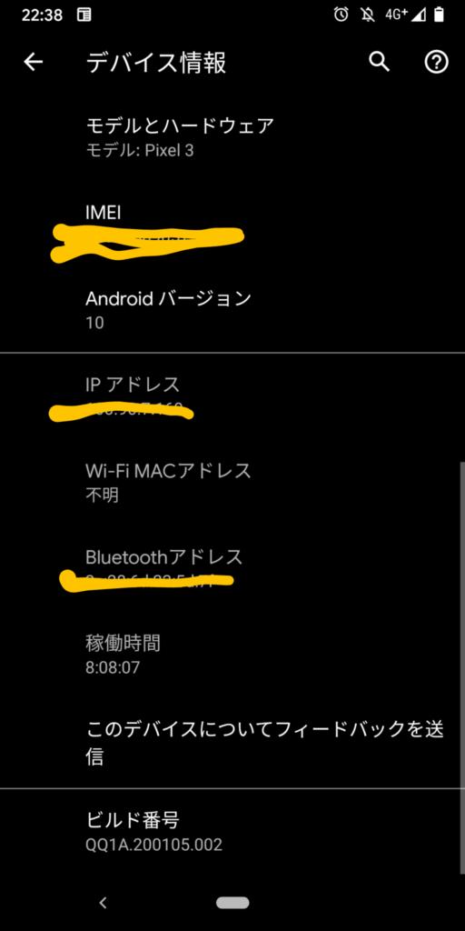 Pixel3 デバイス情報 - IPアドレス