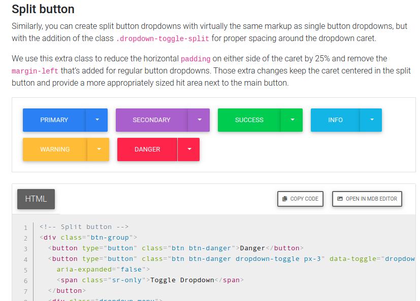 例えばドロップダウンを表示したければ、その下のHTMLコードをコピペする