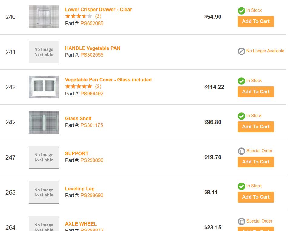 PartsSelect.comより。GE冷蔵庫のパーツを検索