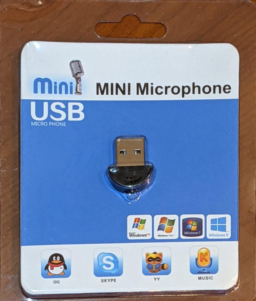 格安極小USB Mini microphoneのパッケージ