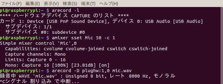 arecordで極小USBマイクで録音したところ