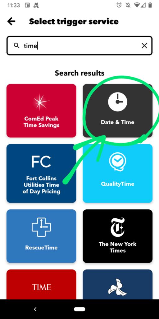 IFTTTのトリガーサービスとしてDay & Timejを選ぶ