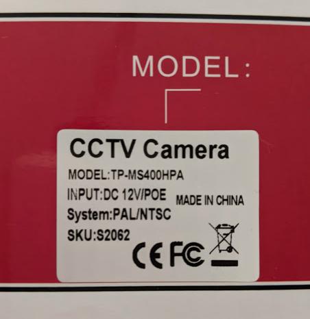 中国製の低価格魚眼セキュリティカメラTP-MS400HPA